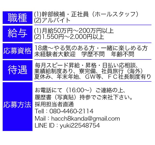 神田いちゃキャバ・JK制服キャバクラ【はっち∞神田店】男性求人